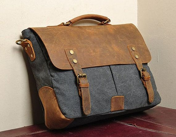 Image of Khaki Leather bag Genuine leather canvas bag/ Men leather ...
