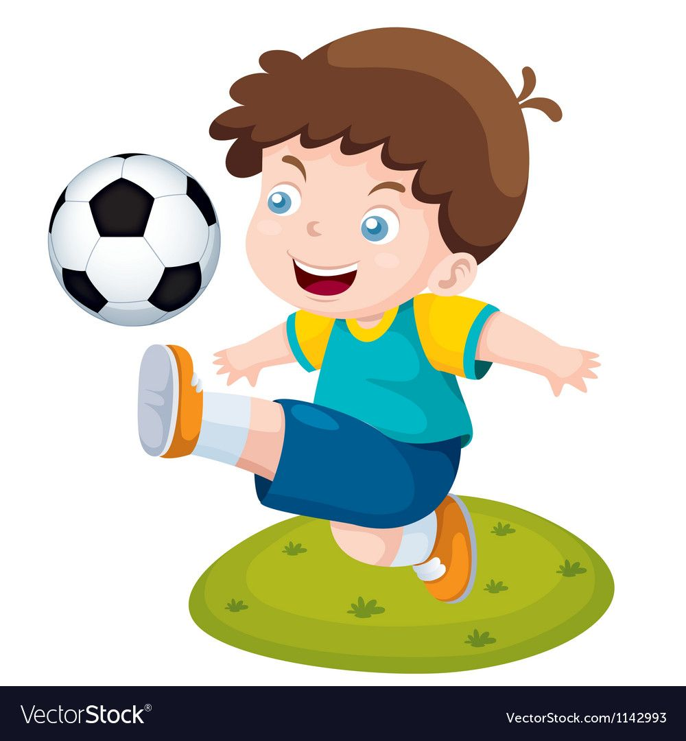 Boy Playing Soccer Vector Image On Vectorstock In 2020 Boys Playing Painting For Kids Cartoon Boy