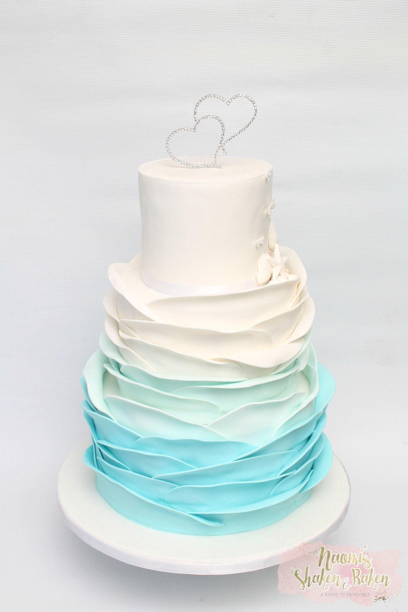 Beach ombre ruffle wedding cake #wedding #weddingcake #bne #brisbane ...