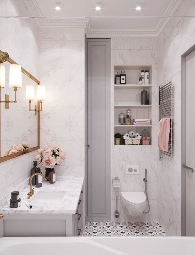Photo of White marble bathroom, gray cabinets, open shelves, black and white painted to …