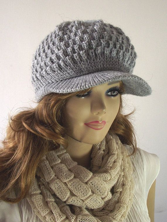 Knitting Pattern Hat Claire Newsboy Hat Knitted Brim Cap Woman Hat
