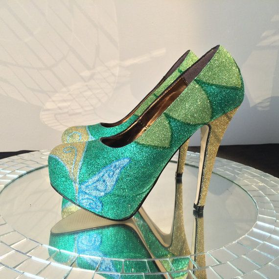 Tinkerbell Inspired High Heel Glitter Shoes for by ChicUniqueGeek