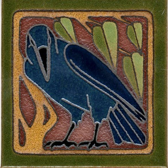 6x6 Ac Crow Right Deco Satin A Tile Arts Amp Crafts Style