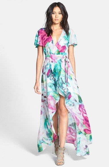 June Hudson Floral Print High/Low Wrap Dress available at ...