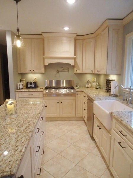 granite counters with cream colored cabinets | your local kitchen
