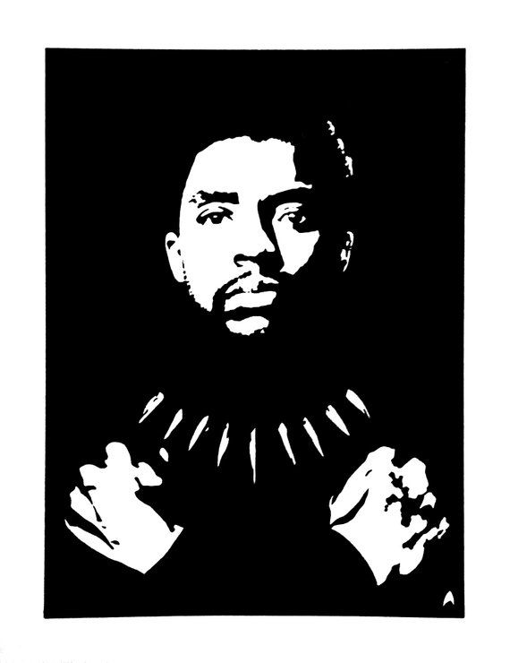 T'Challa / Black Panther Hand-Painted Comic Book Portrait: Original Artwork Unframed Black and White Ink Painting