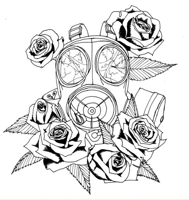 I want a gas mask tattoo wit dead flowers to signify how ... Gas Mask Tattoo Sketch