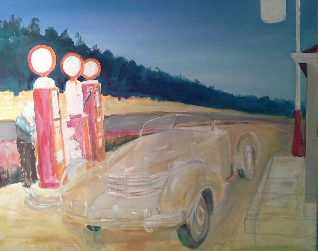 """Roger Adams painting work in progress Hopperesque background. Car drawn out l am undecided whether to leave as a ghost or paint it possibly an apple green red might be too much. I am referring to it as """"The lost Chord""""."""
