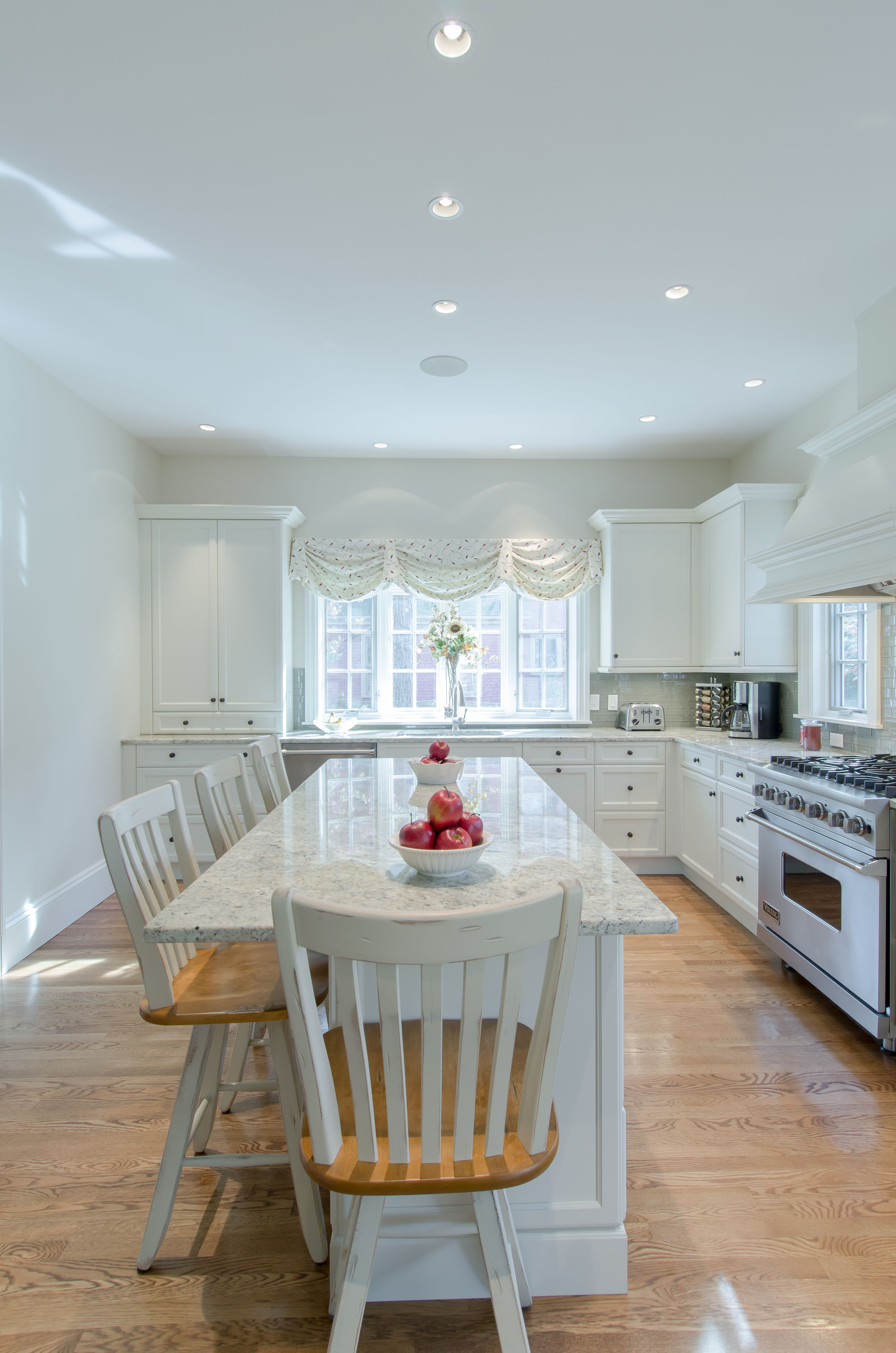 White Cabinet Kitchen - white cabinetry, granite countertop, custom ...