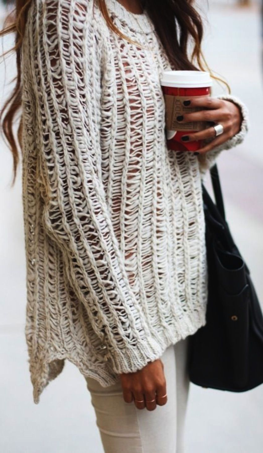 A pretty textured sweater is fantastic paired with a long sleeve t ...