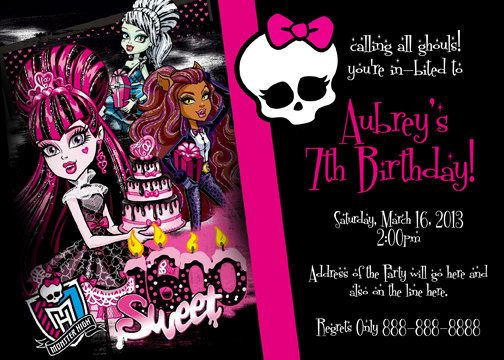 Monster High Birthday Invitation Sweet 1600 Digital File 4x6 Or