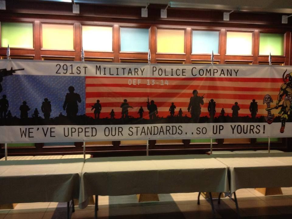 Actual banner at a deployment ceremony at Fort Leavenworth, circa October 2013.