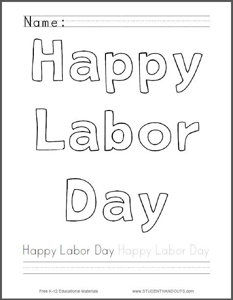 Happy Labor Day Coloring Page - Free to print (PDF file). Fun way ...