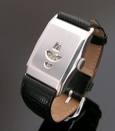 A very rare silver Jump Hour wristwatch, 1932