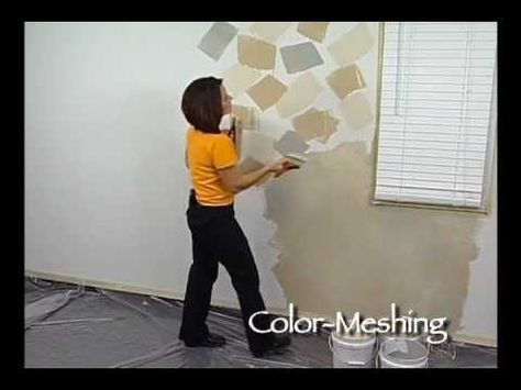 Color Meshing Faux Finish Painting by The Woolie - (How To Paint Walls) #FauxPainting