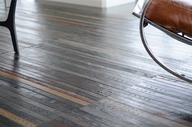love this floor made out of leather belts