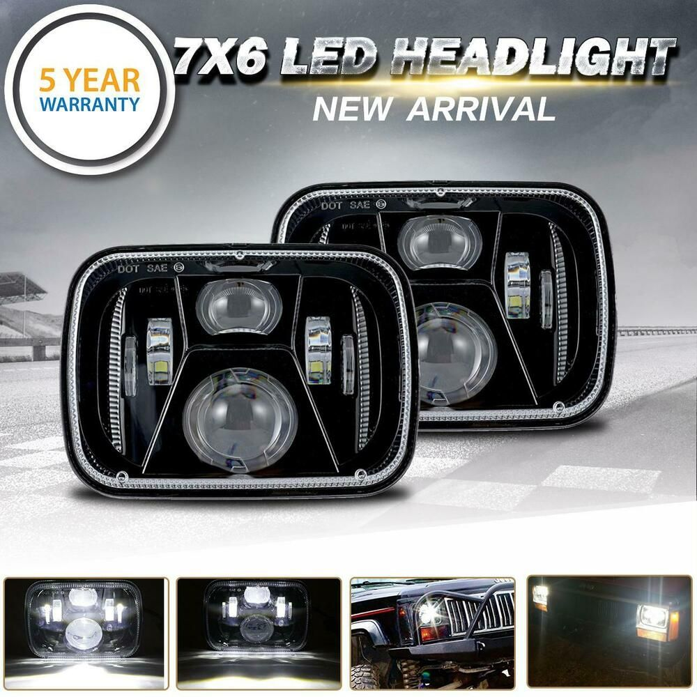 Sponsored Ebay Dot 7x6 5x7 Cree Led Headlight Headlamp Black