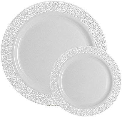 Ttg 200 Piece Plastic Dinnerware Set Lace Collection 100 Dinner Plates 100 Salad Pl Plastic Dinnerware Sets Plastic Plates Wedding Plastic Dinnerware