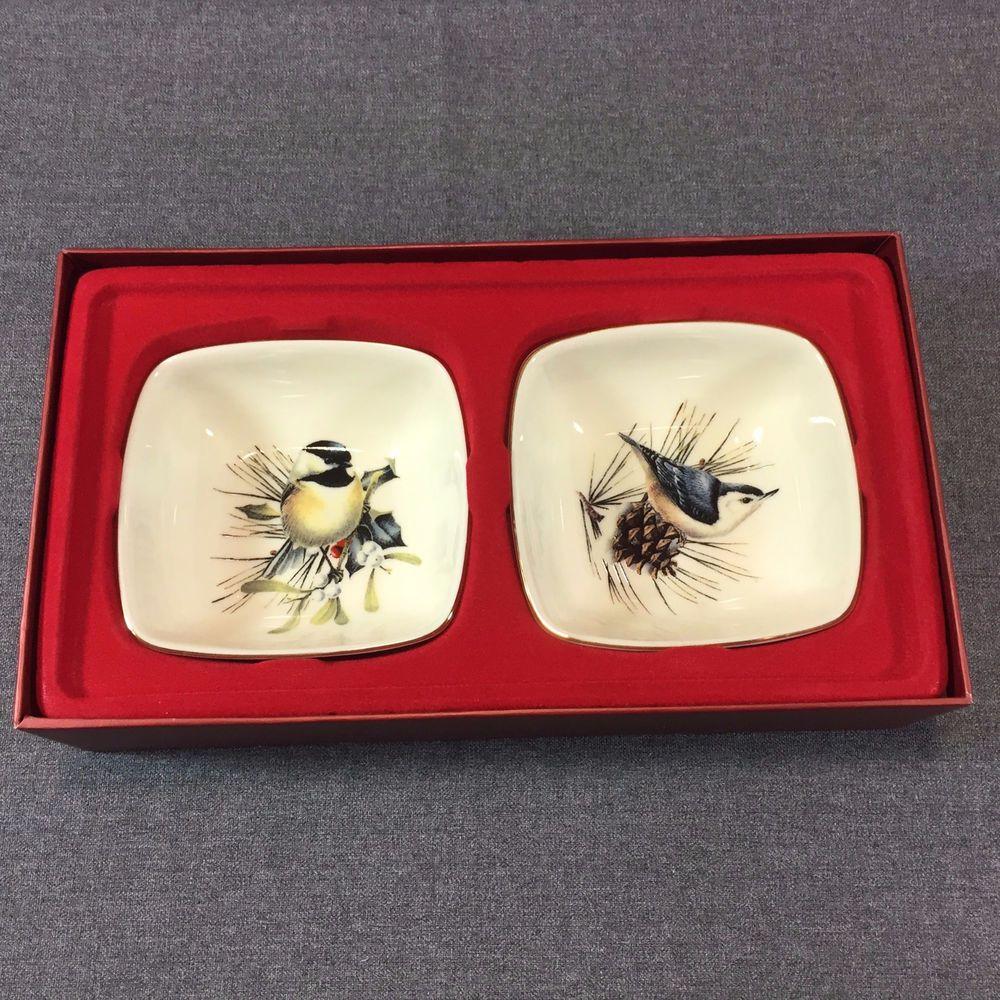 Lenox Winter Greetings Christmas Dipping Bowl Set Of 2 Chickadee And