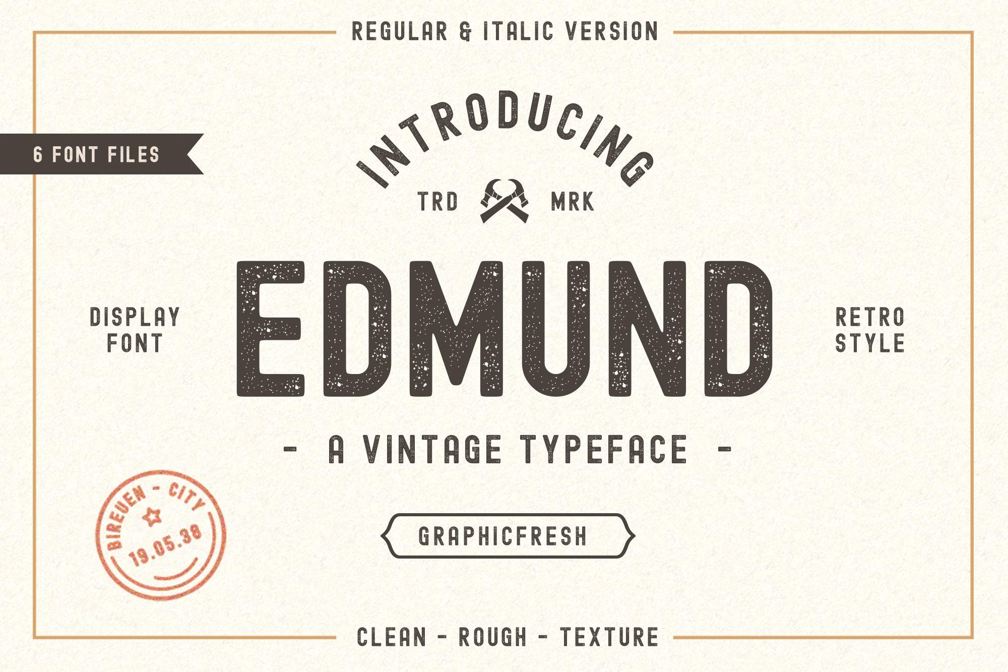 Edmund Vintage Font Free Pixelify Best Free Fonts Mockups Templates And Vectors Vintage Fonts Vintage Fonts Free Retro Font