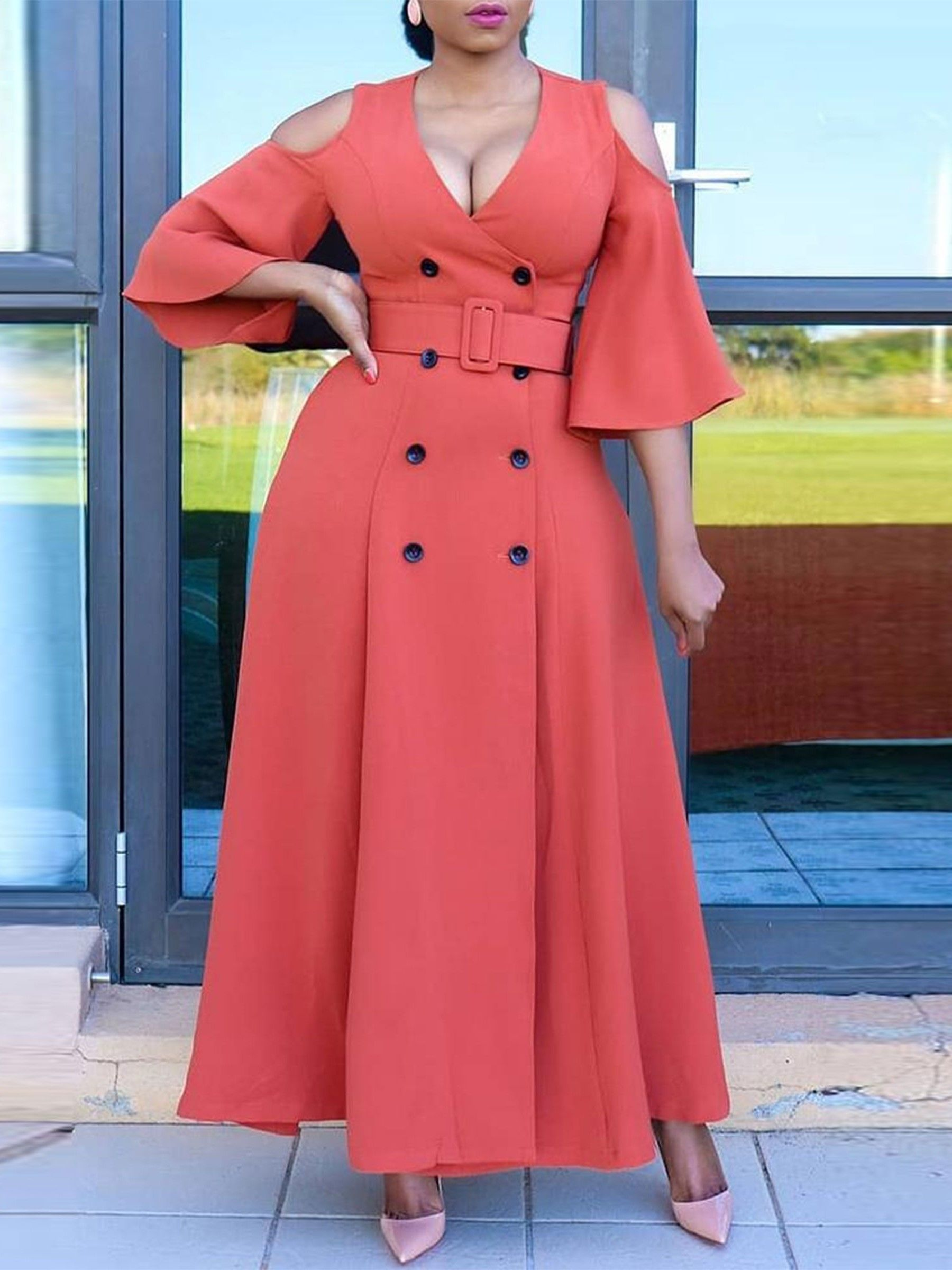 35b7750aacd6 Three-Quarter Sleeve Double-Breasted Maxi Dress