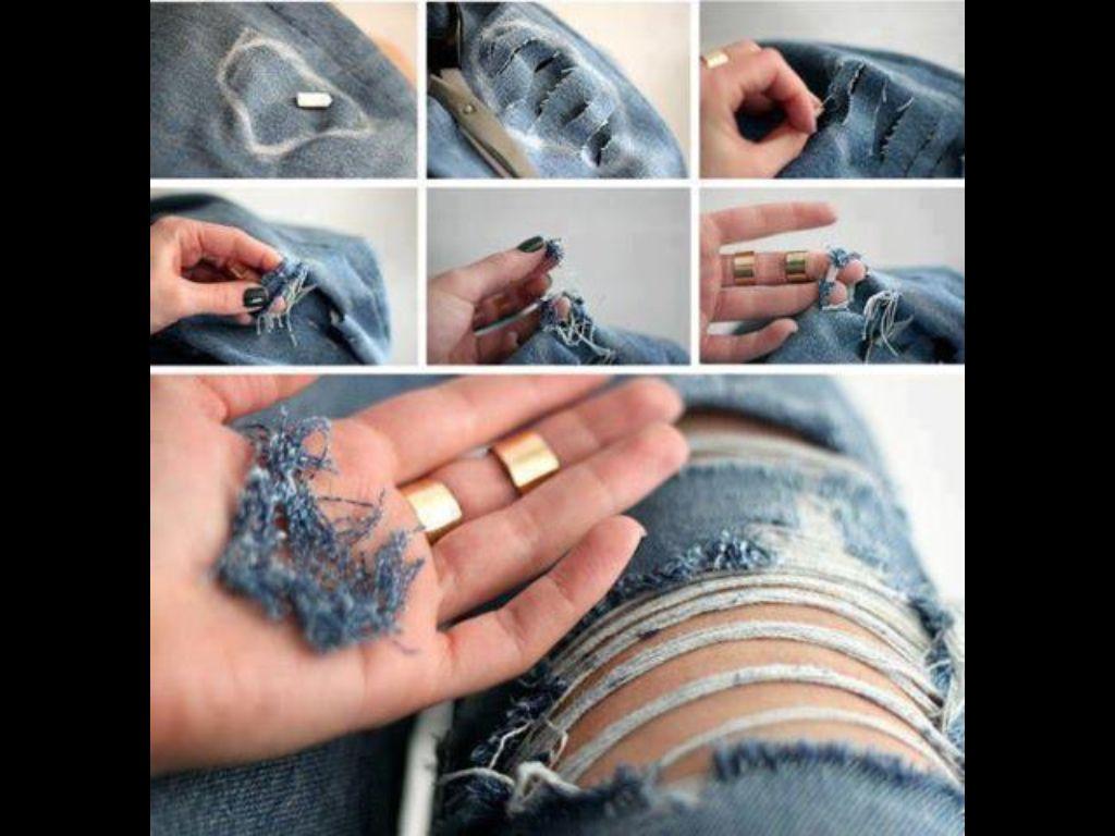 Un Pantalon Roto Hacer Pantalones Pantalones Vaqueros Rotos Como Rasgar Pantalones