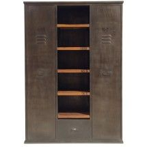 armoire 2 portes vintage industriel metal et bois. Black Bedroom Furniture Sets. Home Design Ideas