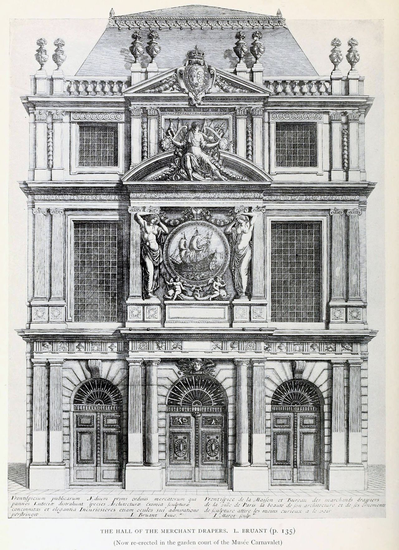modern architecture blueprints commercial building bruants elevation of the hall merchant drapers paris neoclassical architecture baroque architecture