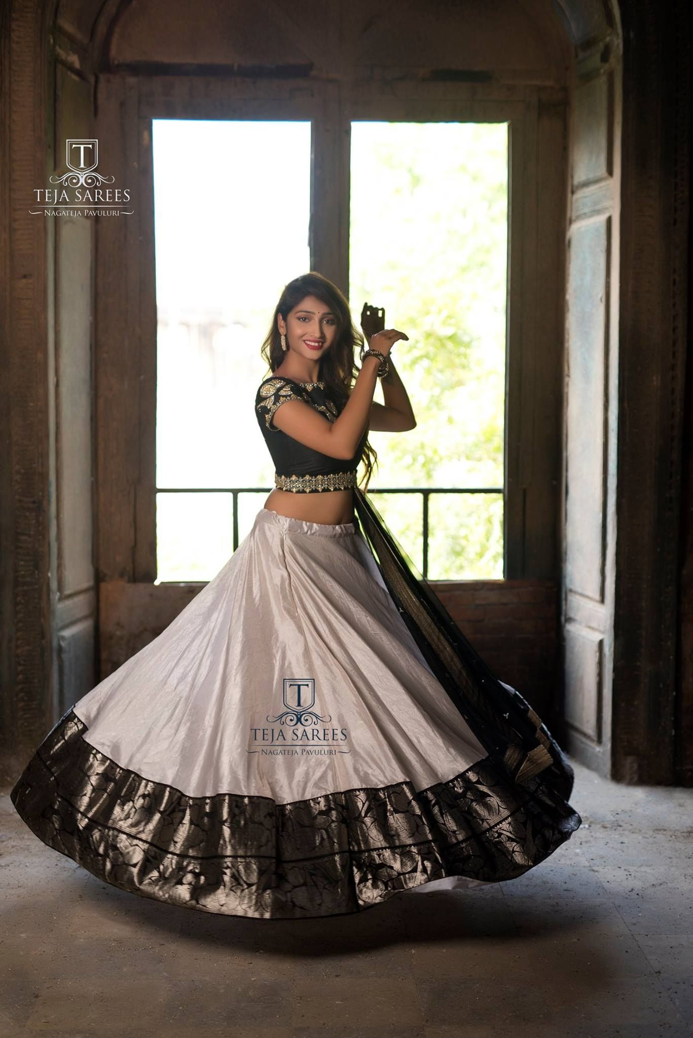 6464fdc038 Sampradaya 009Available The Joy of Dressing is an Art !!! Beautiful silver  color lehenga and black color blouse with dupatta.For orders/queries Call/  whats ...