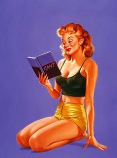Pin Up Girl Reading