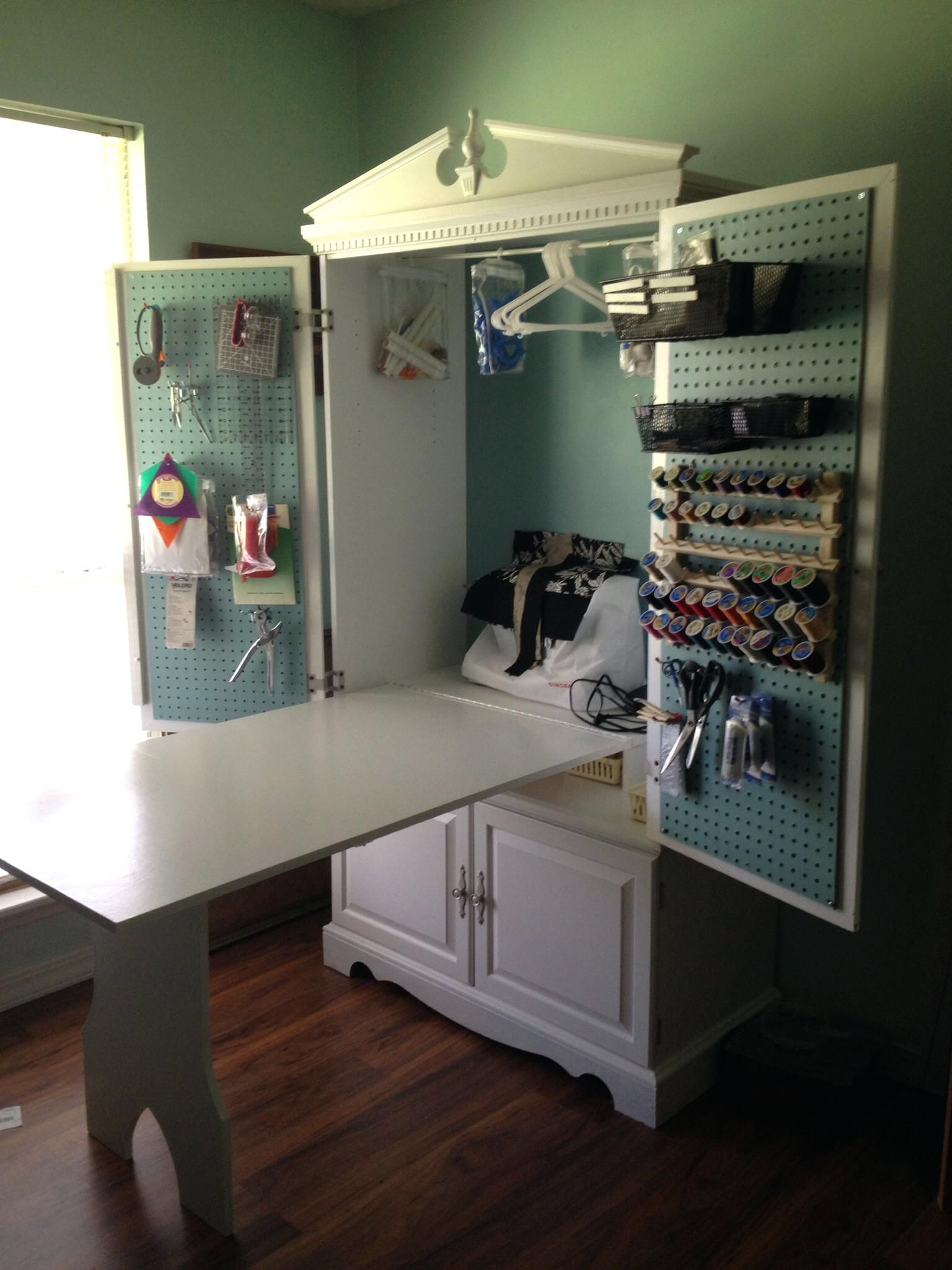 Craft Armoire Plans Turned Into A Sewing Cabinet With Fold Up Table Turned Into A Sewing Cabinet With Fold Up Ta Sewing Rooms Sewing Cabinet Craft Room Storage