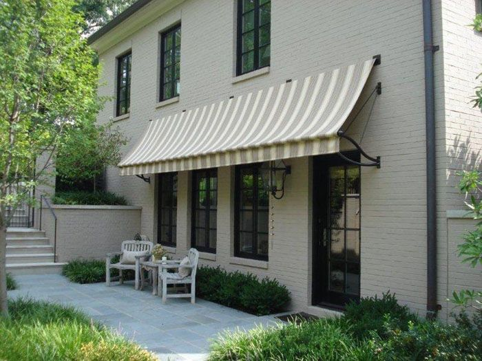 Residential Slope Style Fabric Awning Brick House Front Door
