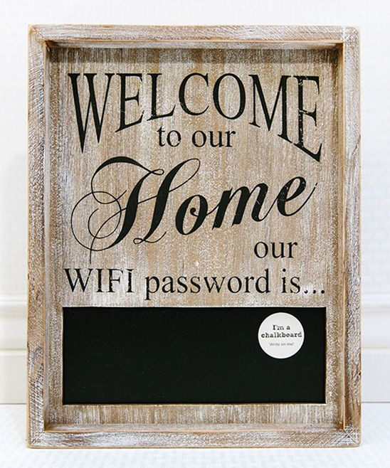'Welcome to Our Home' Wi-Fi Chalkboard Sign