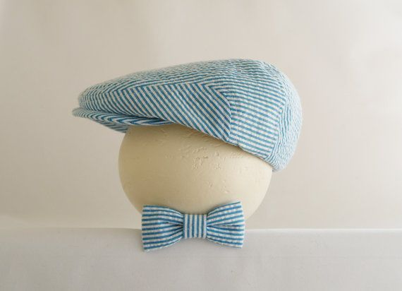 Turquoise blue seersucker photo prop set, turquoise blue newsboy hat and bow tie for baby, infant baby boy photo prop set - made to order