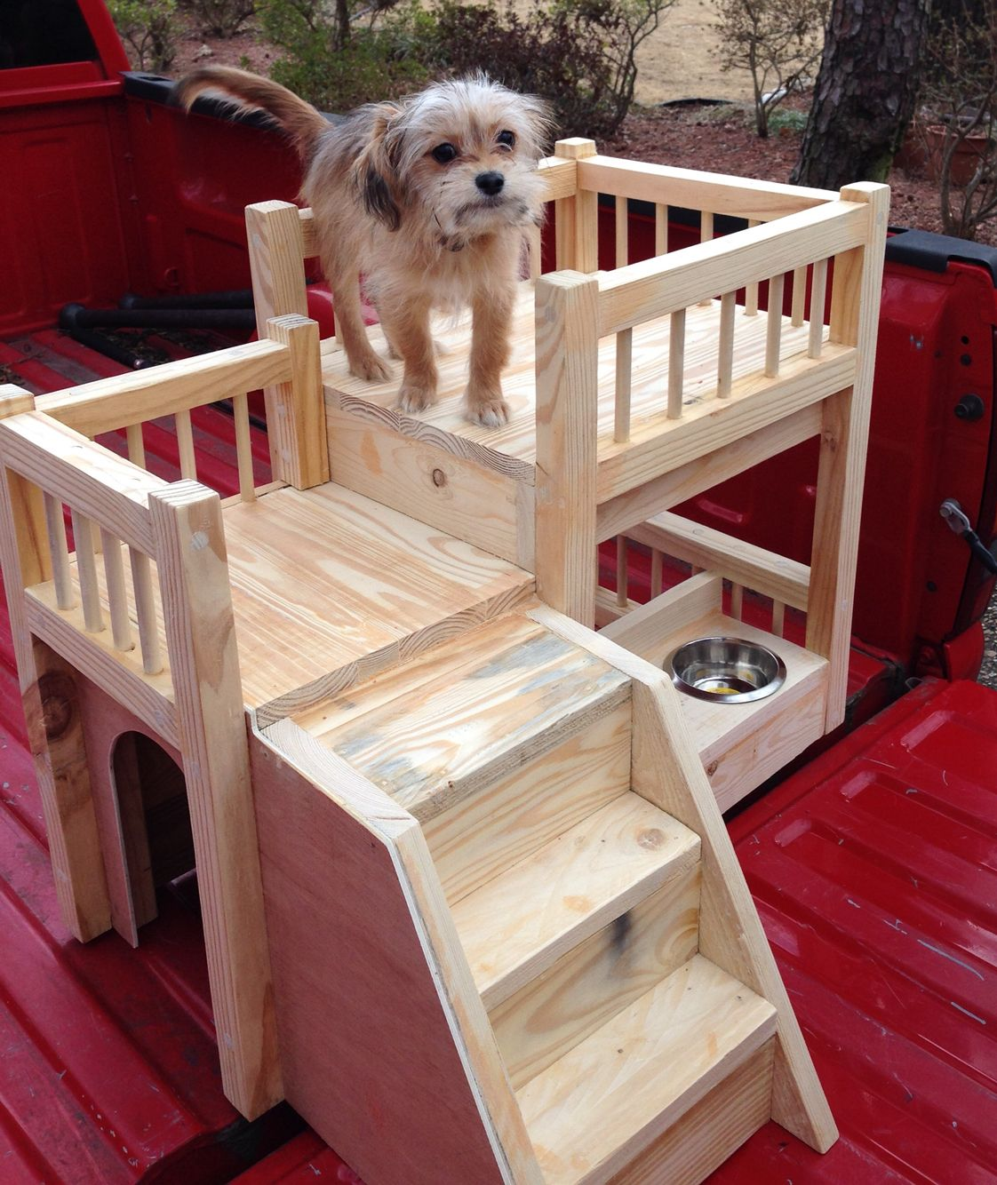 Diy Dog House With Stairs And Food Bowls Dog House Diy