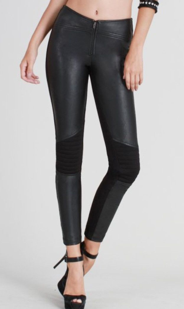 Faux leather front, spandex back with quilted knee patch 85% Polyester, 12%