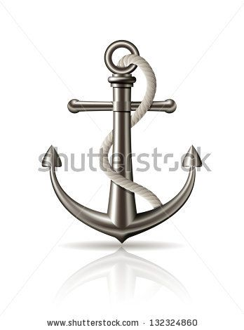 Anchor With Rope On White Background Vector Illustration Stock