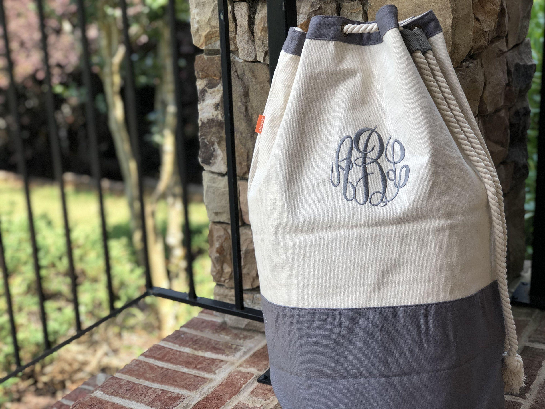 Monogrammed Laundry Bag Personalized Laundry Bag Canvas Laundry