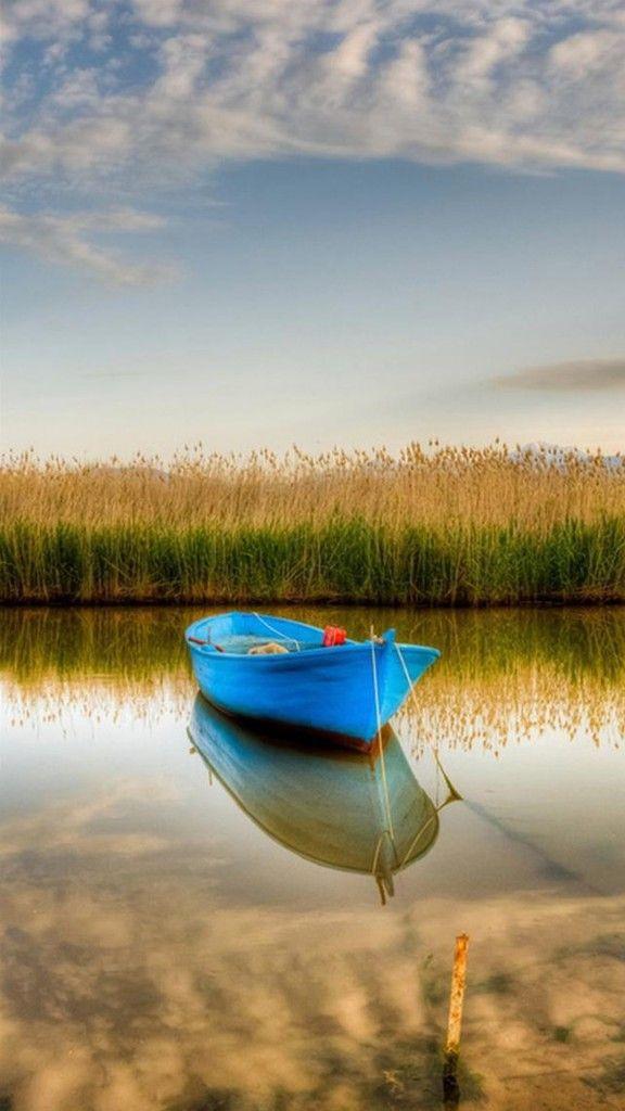 Nature-Blue-Boat-Stranding-Calm-Crystal-Lake-iPhone-6-wallpaper.