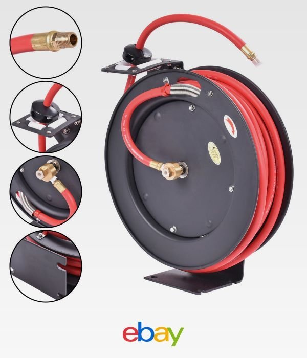 3//8 X 50 Retractable Air Compressor Hose Reel 300PSI Auto Rewind New