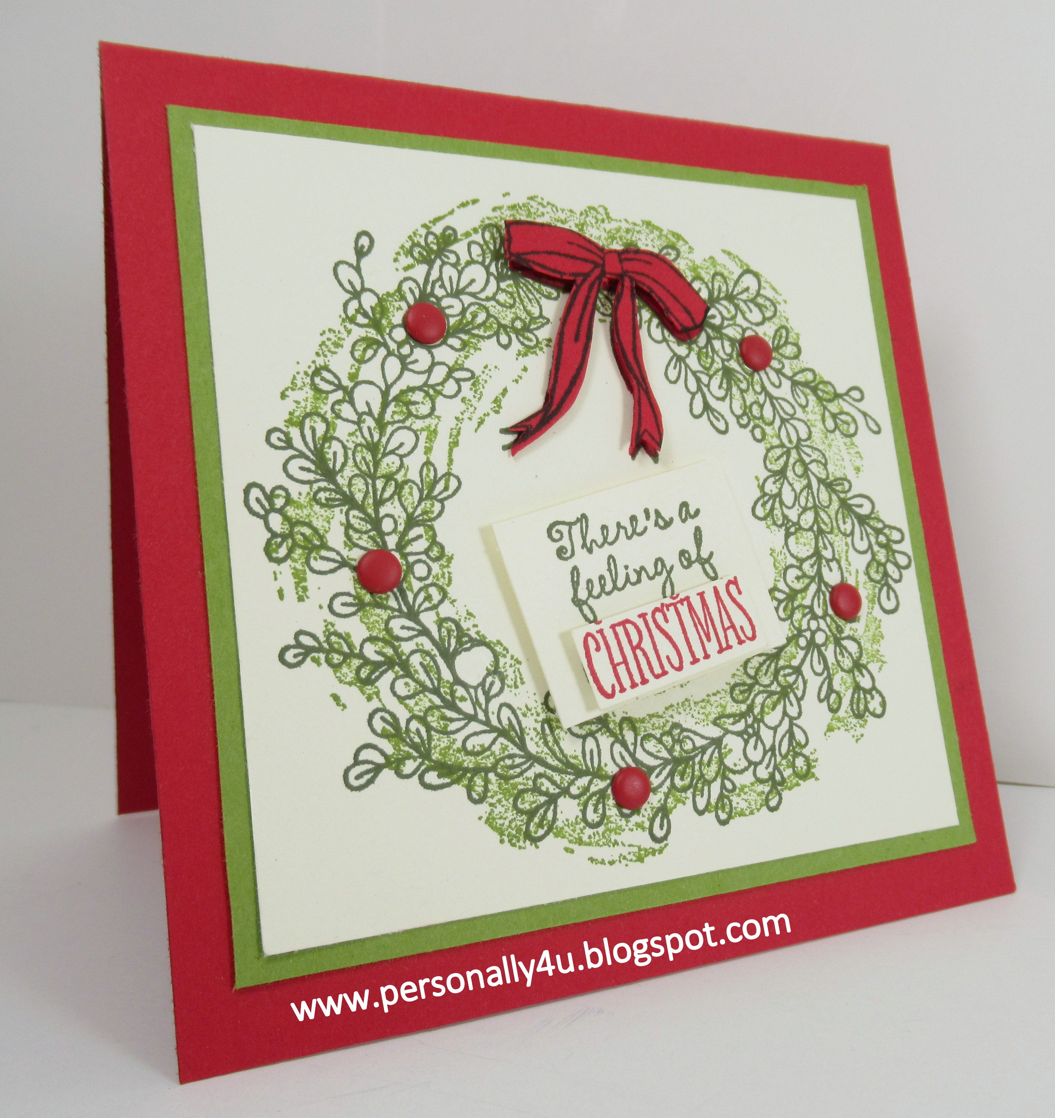 Wreath from old christmas cards - I M Especially Excited About The New Feeling Of Christmas Stamp Set I Wanted To Make A 4 X 4 Card