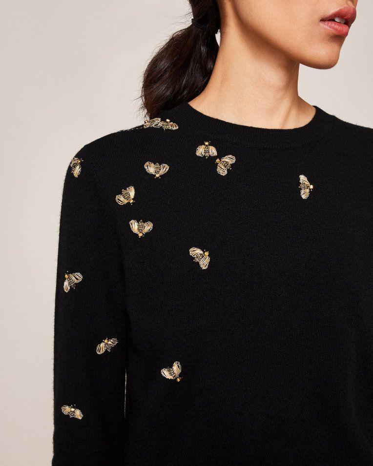 df3379865630 Embellished Bee jumper - Black