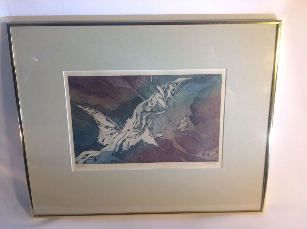Vintage Etching of Modern Art by Sylvia Immel Titled Papillon 228/900 Signed #Abstract