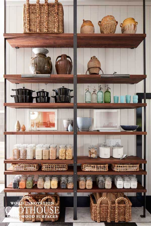 Open Pantry Wood Shelving in a Kitchen Design kitchens Pinterest