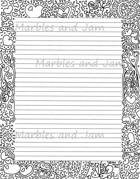 Hearts Border Lined Stationery Page  Crafting Stationery And