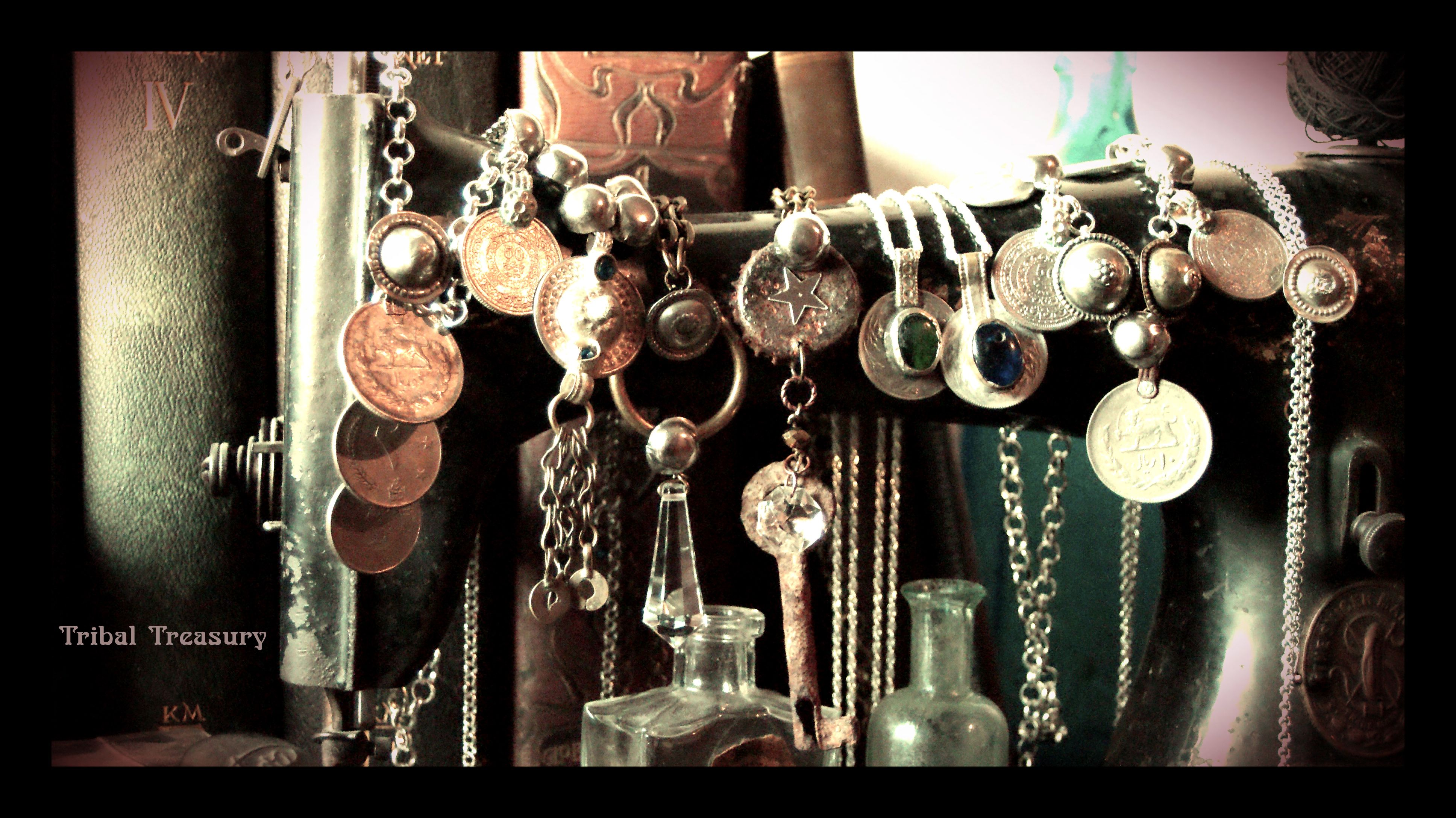 Tribal Treasury necklaces.  #necklace# #chain# #coin# #tribal# #rust# #key# #star# #ethno# #gipsy# #kuchi# #turkoman# #designer#