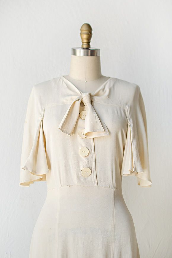 0234282bf4 vintage 1930s ivory silk dress cape sleeves and bow | ADORED VINTAGE ...