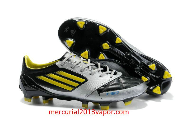 Adidas F50 Adizero MiCoach FG Leather Soccer Cleats Black Silver Yellow cecc8fcbd582