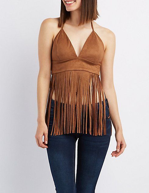 f87c8deb7e Faux Suede Fringe Crop Top in 2019