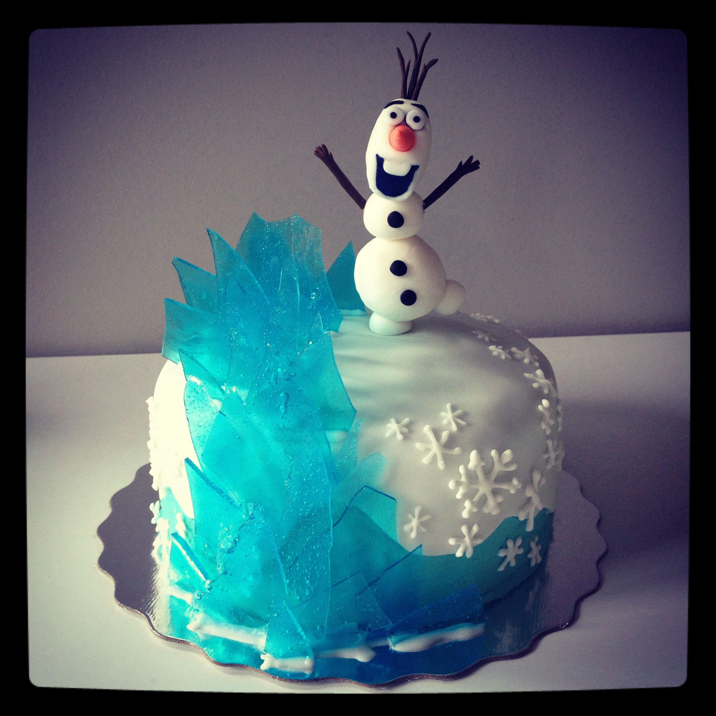 "mini 6"" disney frozen olaf cake. blue raspberry holly ranchers"